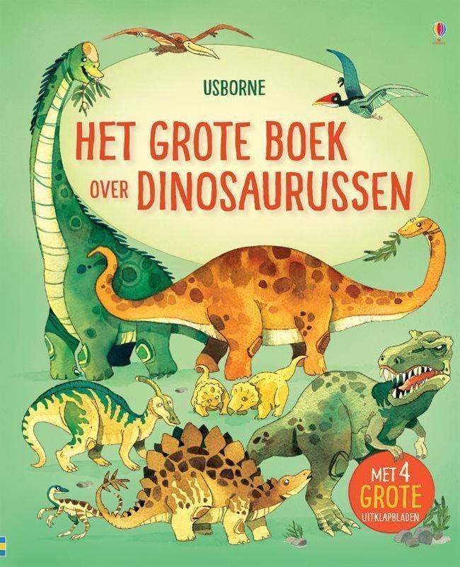 De voorkant van het boek met de titel : Het grote boek over grote dinosaurussen