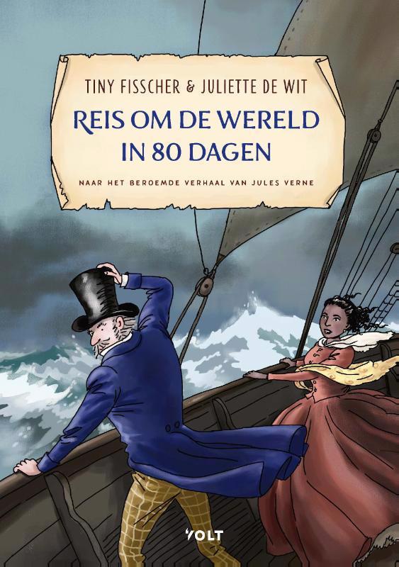 De voorkant van het boek met de titel : Reis om de wereld in 80 dagen