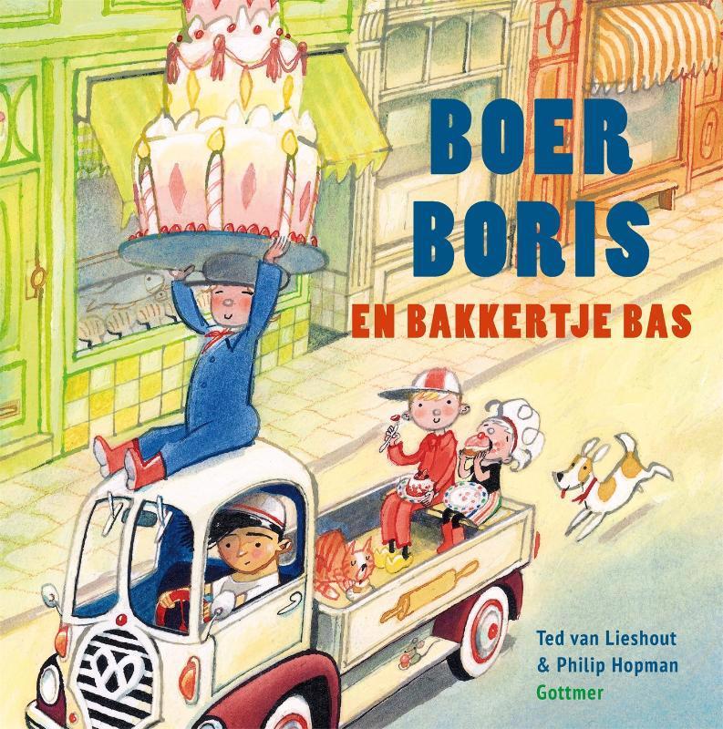 De voorkant van het boek met de titel : Boer Boris en bakkertje Bas