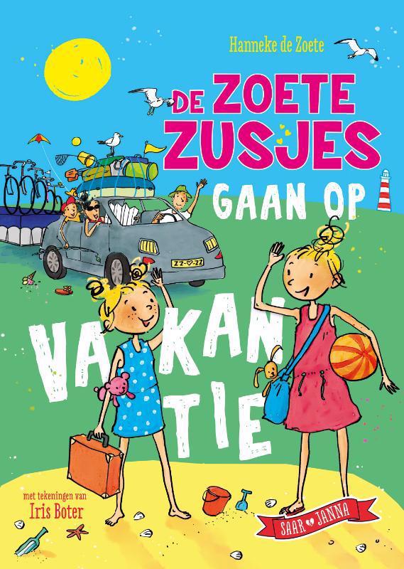 De voorkant van het boek met de titel : De zoete zusjes gaan op vakantie