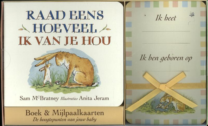 De voorkant van het boek met de titel : Raad eens hoeveel ik van je hou Boek & Mijlpaalkaarten