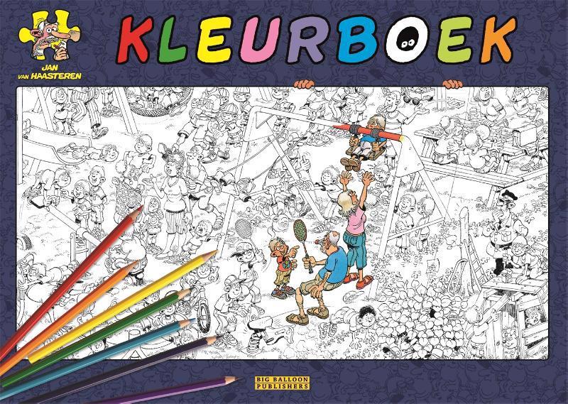 De voorkant van het boek met de titel : Jan van Haasteren kleurboek