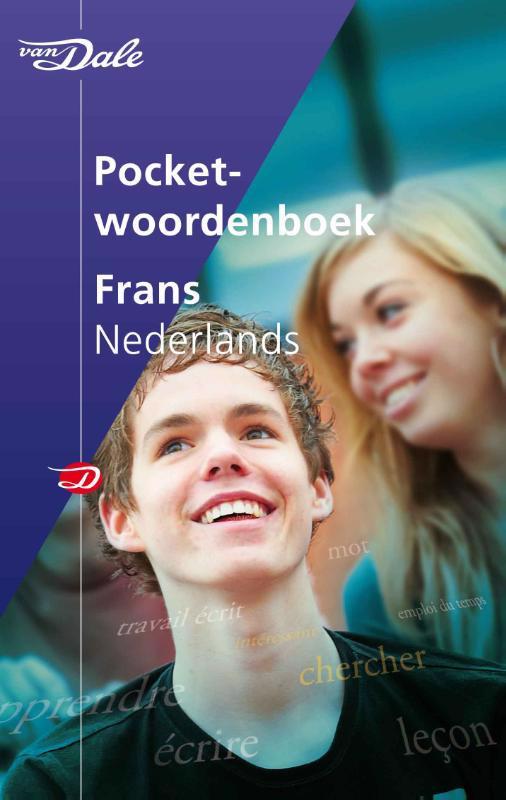 De voorkant van het boek met de titel : Van Dale Pocketwoordenboek Frans-Nederlands