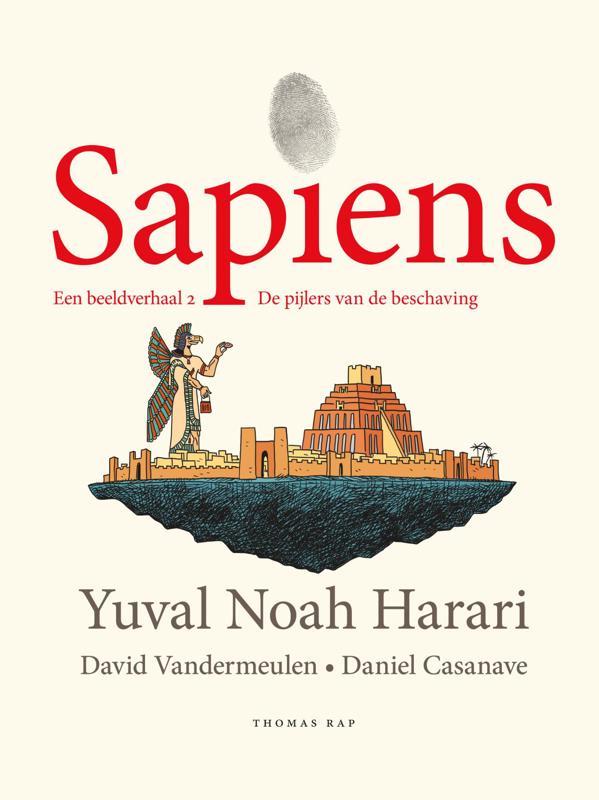 De voorkant van het boek met de titel : Sapiens. Een beeldverhaal 2