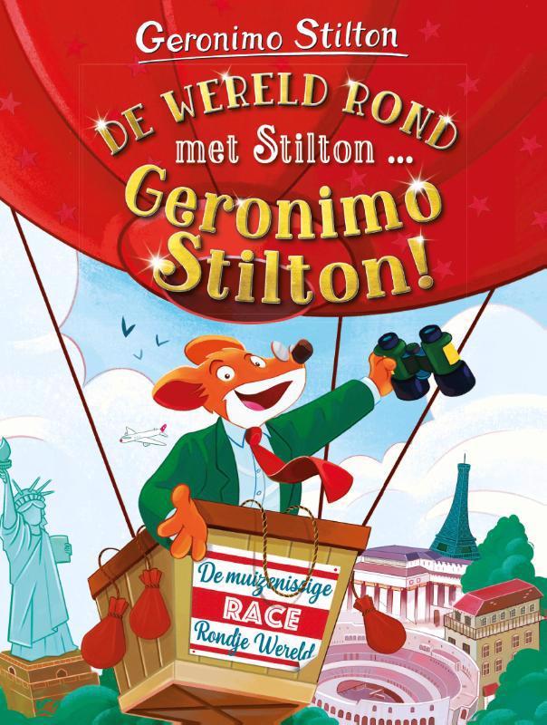 De voorkant van het boek met de titel : De wereld rond met Stilton... Geronimo Stilton