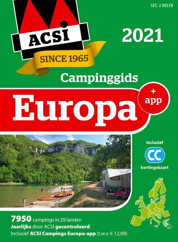 De voorkant van het boek met de titel : ACSI Campinggids Europa + app 2021